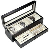 Elegant Watch Collector Box valet for 6 Watches with Jewellery Drawer And organizer