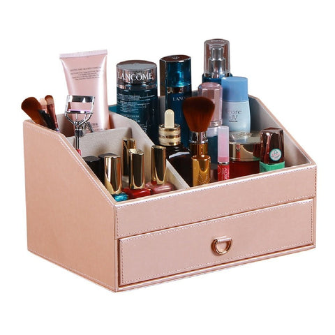 Arolly Fashion PU Leather Cosmetic and Jewelry Desktop Storage Box