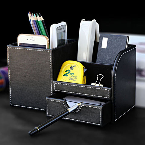 Leather Multi-function Desk Stationery Organizer Storage Box