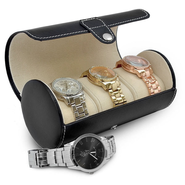 Arolly Roll Traveler's Watch Storage Organizer for 3 Watches/ Bracelets