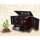 Large Mahogany Wood Finish Necklace Jewelry Box with Lock Mirror