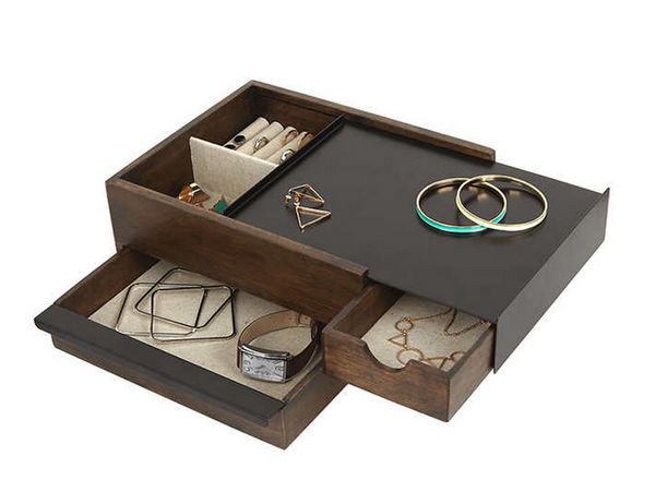 Modern wood and metal box with sliding drawers to store jewelry and accessories