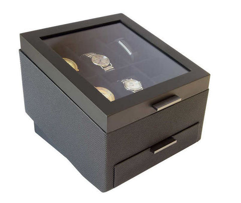 Modern Watch Collector Box Valet for 6 Watches with Jewellery Drawer