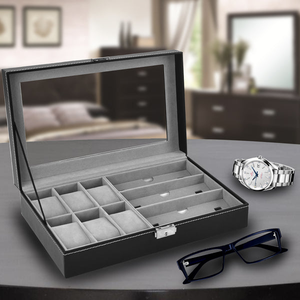 Arolly 6 Black Leather Watch Box Jewelry Case Valet and 3 Piece Eyeglasses Storage