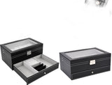 Black Leather Jewelry Box Watch Box Valet Glass Top Drawer Lockable