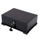 Executive High Gloss Ebony Wood Watch & Cufflink Jewelry Box Case