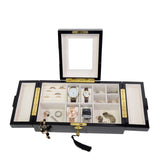 Executive High Gloss Black Wood Finsh Valet Watch & Cufflink Jewelry Box & Organizer Storage Case