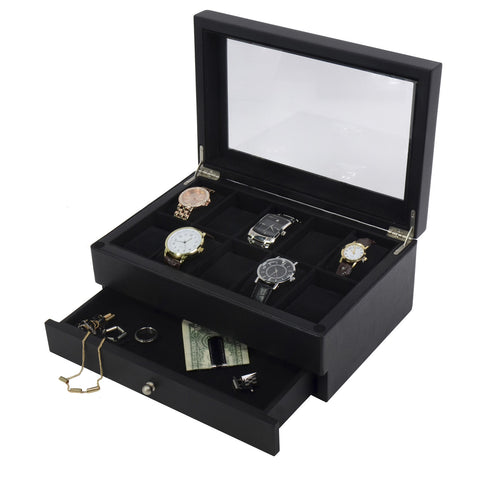 Leather And Wood Black 10 Watch Box Case Valet with Jewelry Display Drawer Glass Top