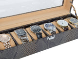 Leather Watch Display Storage Case 6 Watches Glasstop