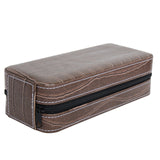 Crocodile Pattern 2 Piece Zippered Watch Display Box, Travel Case Interior Storage Organizer