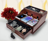 Arolly Valet Mahogany Wood Finish Charging Station And 4 Port USB Charger for iPhone, iPod, Samsung Galaxy, Nexus, Motorolla, HTC, LG, Blackberry & other Smart Phones