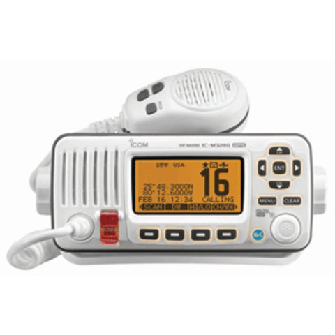 Icom M324G Fixed Mount VHF Marine Transceiver w/Built-In GPS - Super White