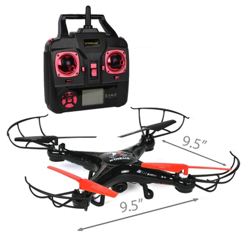 Xtreme XFlyer Quadcopter Drone (9.5) w/Camera LED Lights & Flip - 2.4GHz 6-Axis R/C & 4GB microSD (Black)