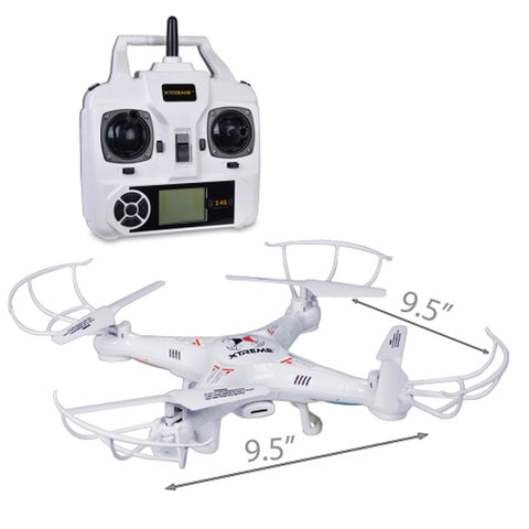 Xtreme XFlyer Quadcopter Drone (9.5) w/Camera LED Lights & Flip - 2.4GHz 6-Axis R/C & 4GB microSD (White)