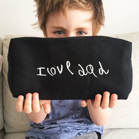 wash bag personalised with children's drawings, perfect gift for Dad