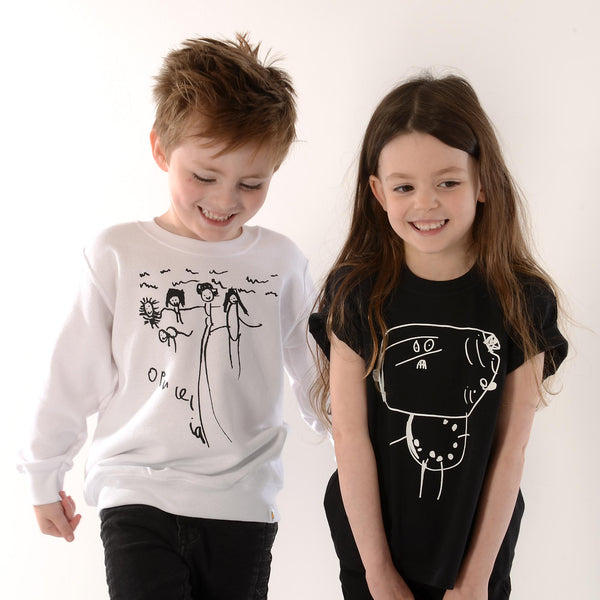 Parents sweater personalised with childs drawing