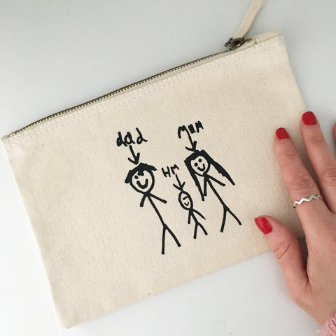 personalised purse gift for mum from children using kids drawing