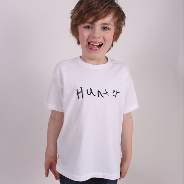 Personalised kids Name T-shirt with child's hand writing