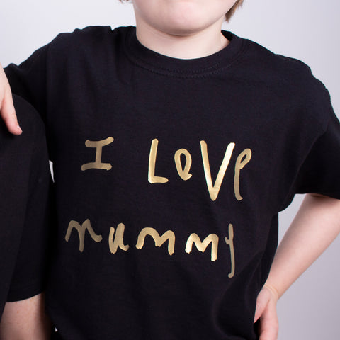 childs tshirt personalised with kids drawing handwriting