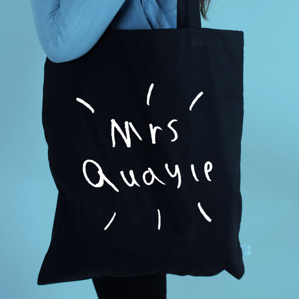 Teacher Personalised Bag with Pupils Drawing