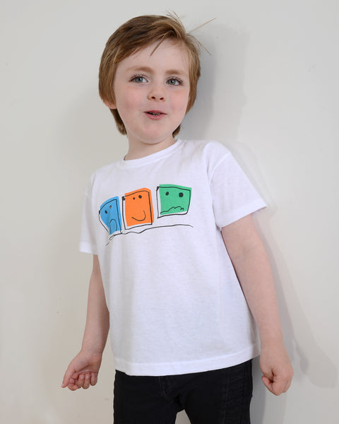 "TOTO & FIFI - Multi coloured ""Square Head"" unisex kids t-shirt, ages 1-6 years"