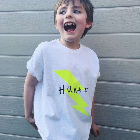 LIGHTENING BOLT t-shirt - can be personalised with kids drawing
