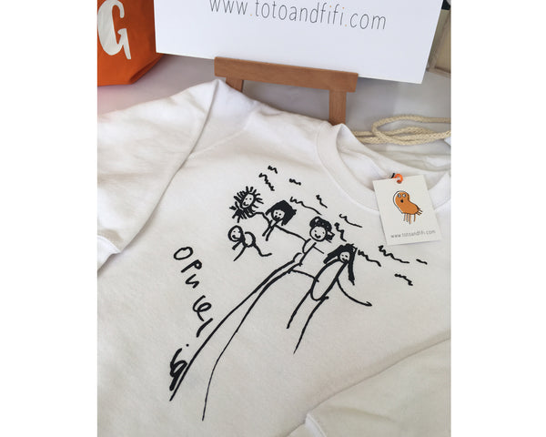 Unisex GROWN-UPS T-shirt personalised with childs drawing