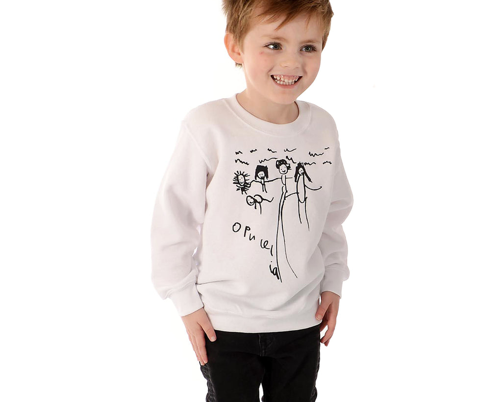 TOTO & FIFI - unisex kids sweater - - designed by kids - bespoke personalised print using children's drawings