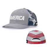 'Merica Flag Leather Patch Back Mesh Hat