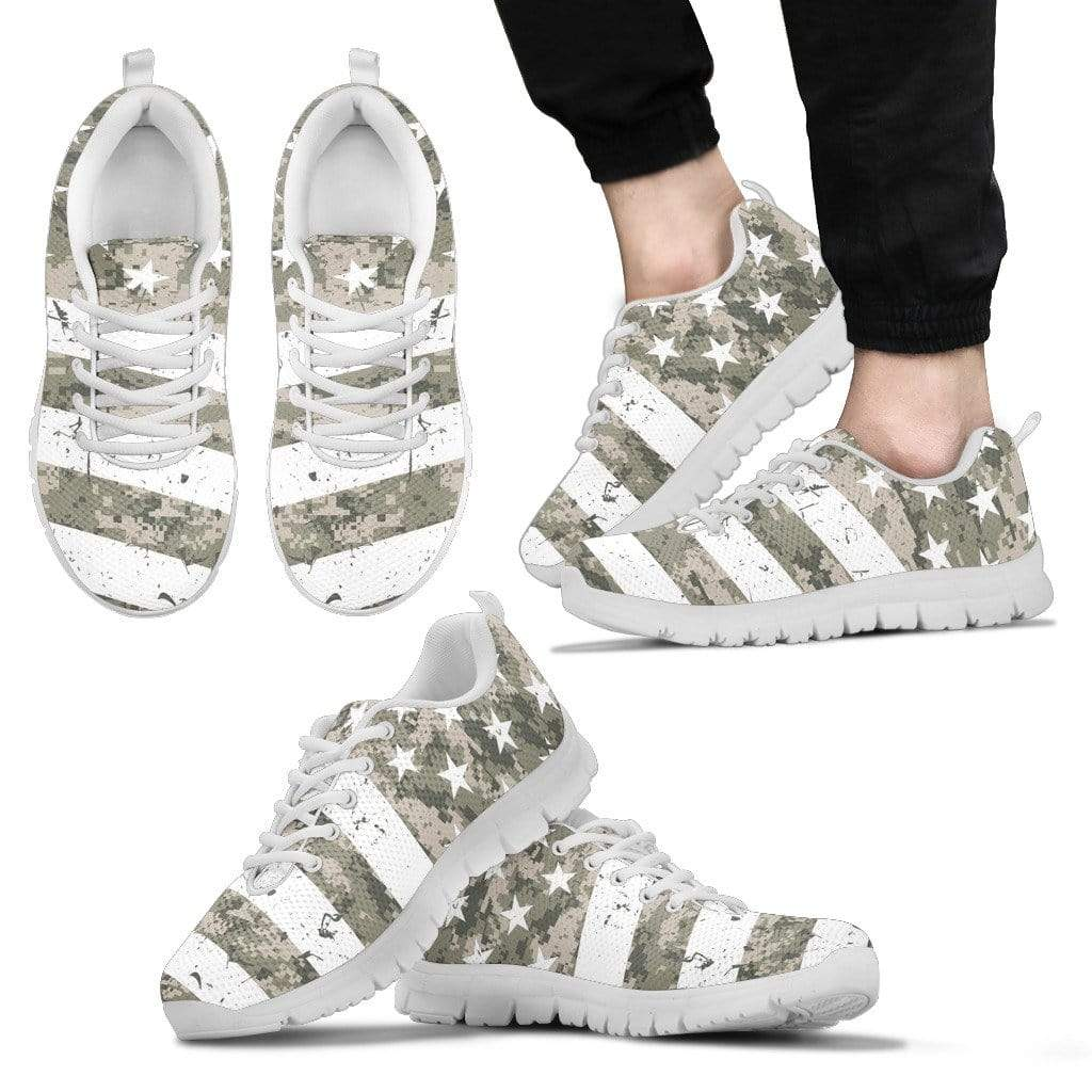 PrintedKicks ACUPAT Camo Flag Premium Mesh Sneakers Men's Sneakers - White - Shoes / US5 (EU38)