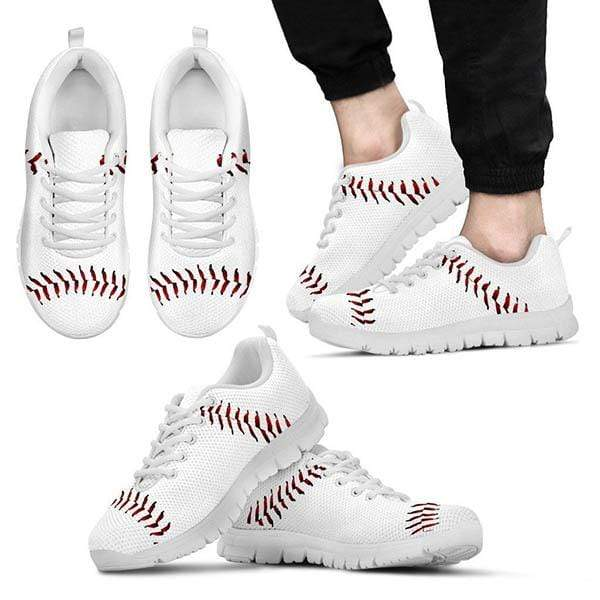 PrintedKicks Baseball Premium Mesh Sneakers Men's Sneakers - White - Shoes / US5 (EU38)