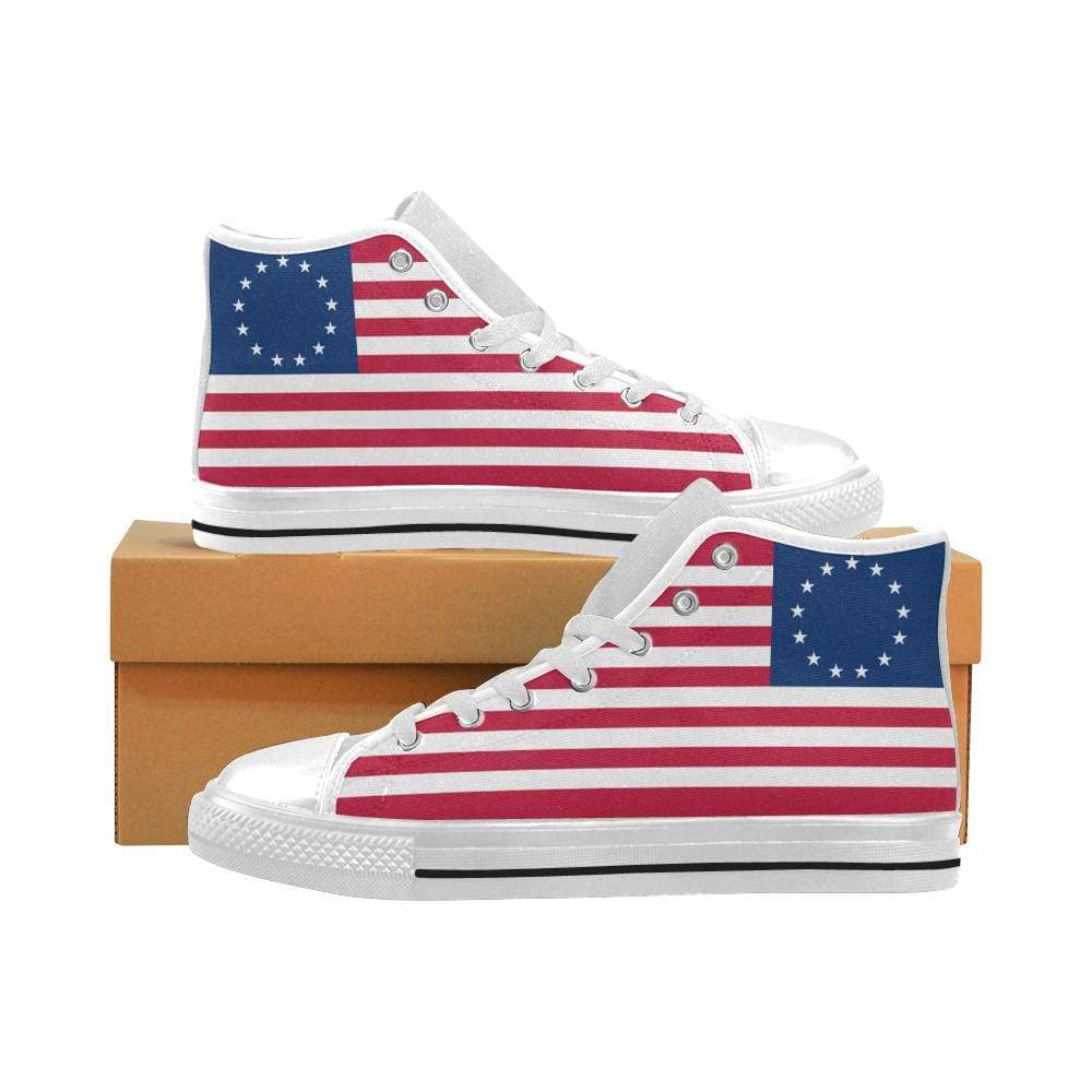 PrintedKicks Betsy Ross 1776 Flag High Top Canvas Shoes