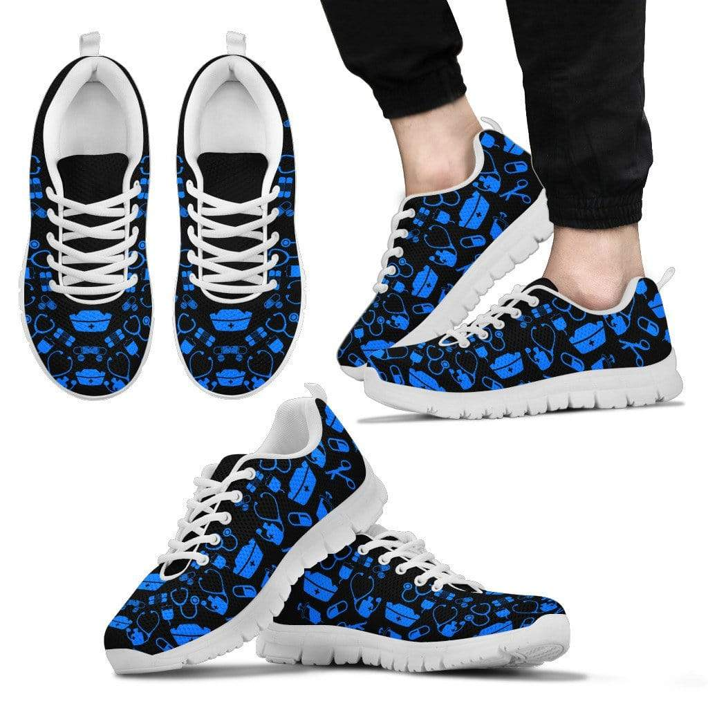 PrintedKicks Black and Blue Nurse Premium Mesh  Sneakers Men's Sneakers - White - Shoes / US5 (EU38)