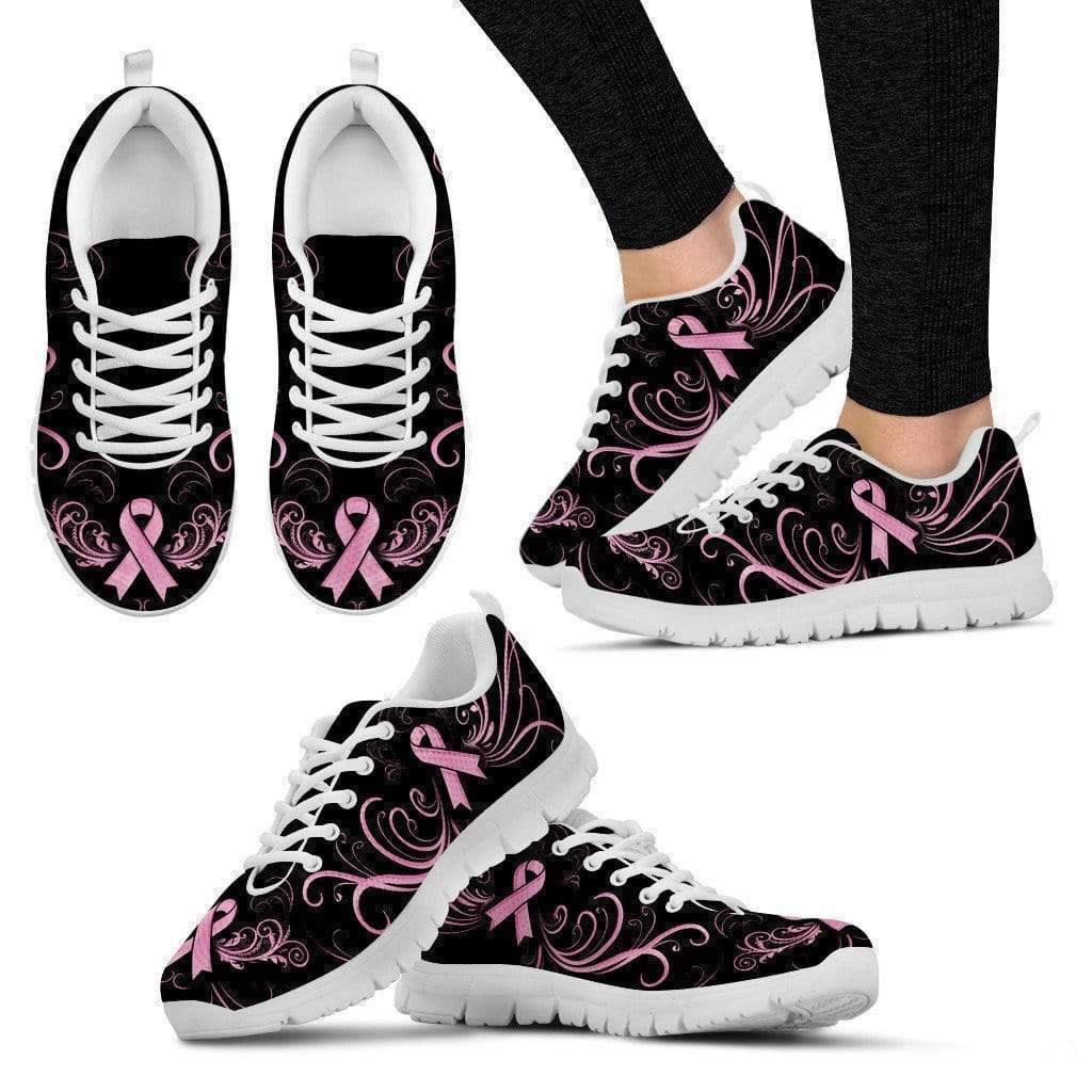 PrintedKicks Breast Cancer Awareness Premium Mesh Sneakers Women's Sneakers - White - Shoes / US5 (EU35)
