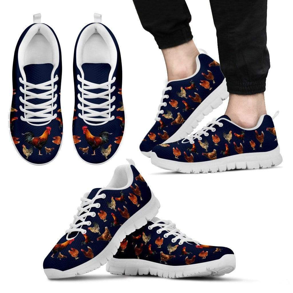 PrintedKicks Chicken Premium Mesh Sneakers Men's Sneakers - White - Shoes / US5 (EU38)