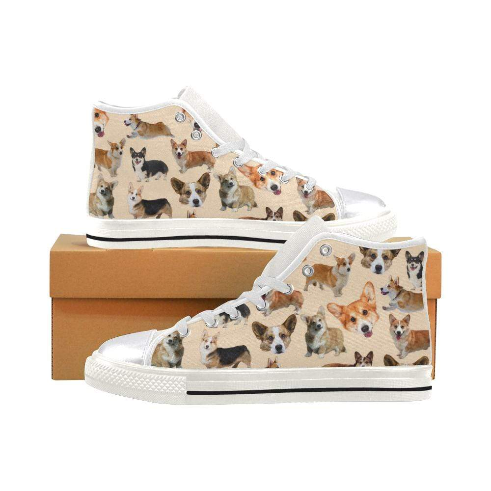 PrintedKicks Corgi Canvas High Tops - Tan