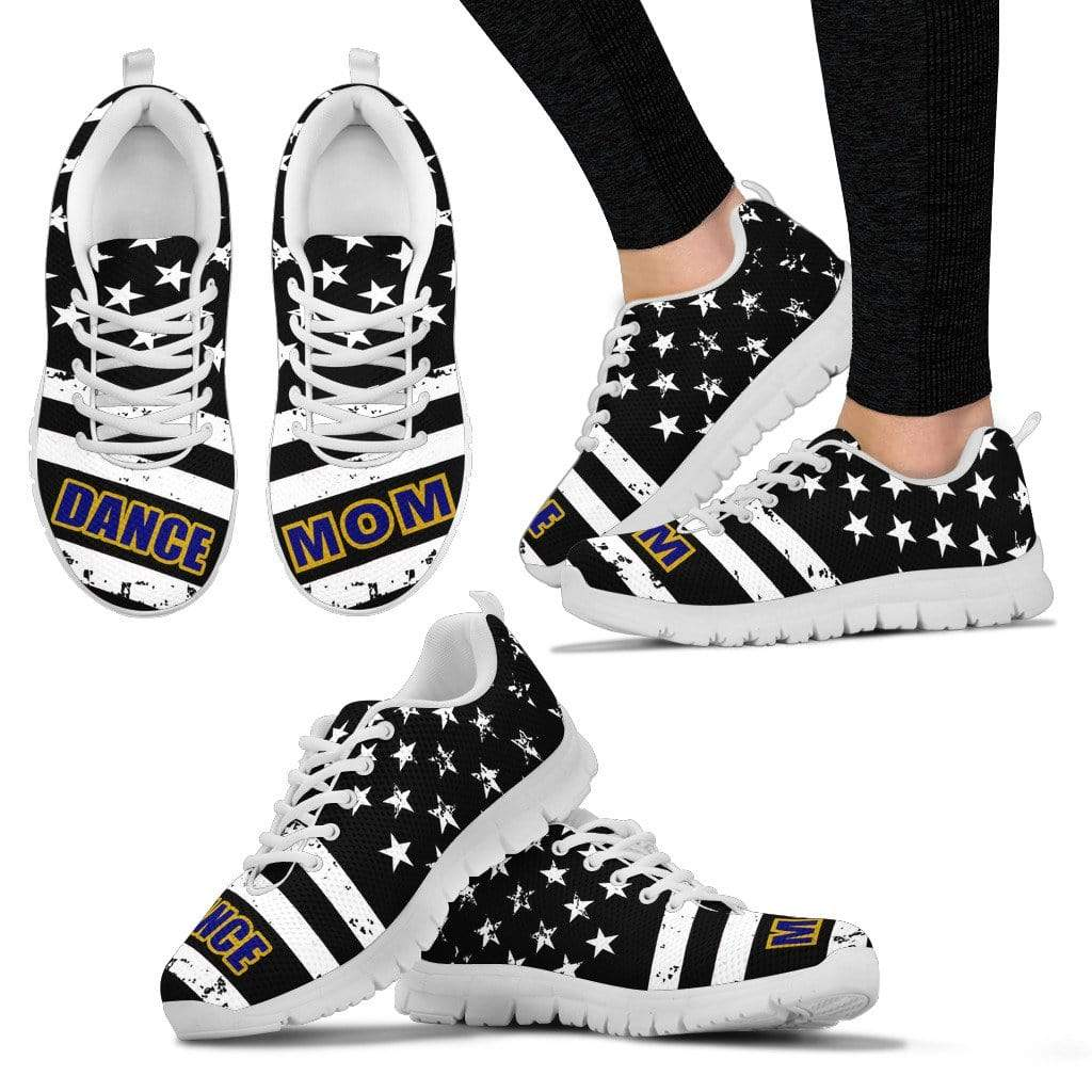 PrintedKicks Dance Mom Black Premium Mesh Sneakers Women's Sneakers - White - Shoes / US5 (EU35)