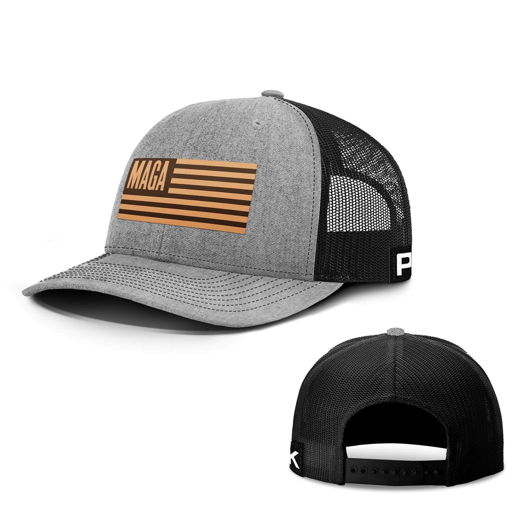PrintedKicks MAGA Leather Patch Back Mesh Hat Heather and Black