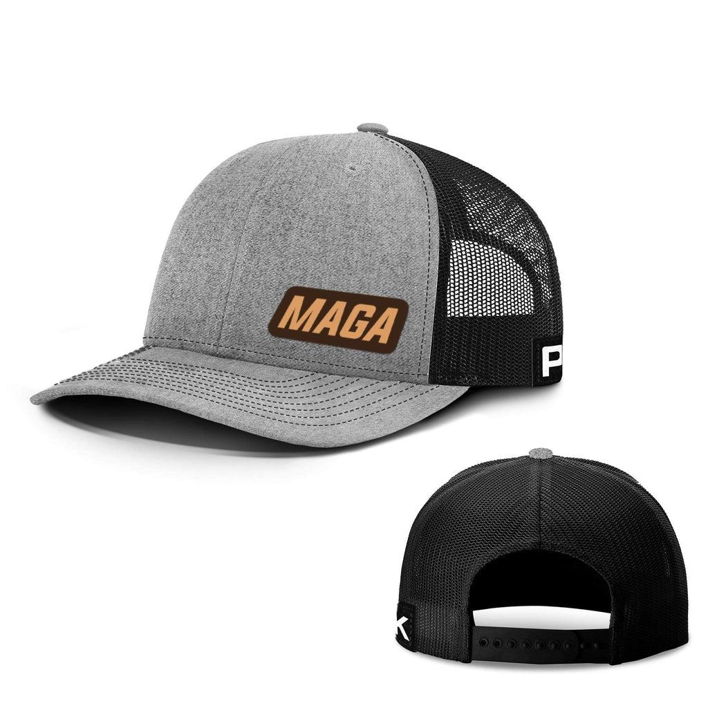 PrintedKicks MAGA Lower Left Leather Patch Back Mesh Hat