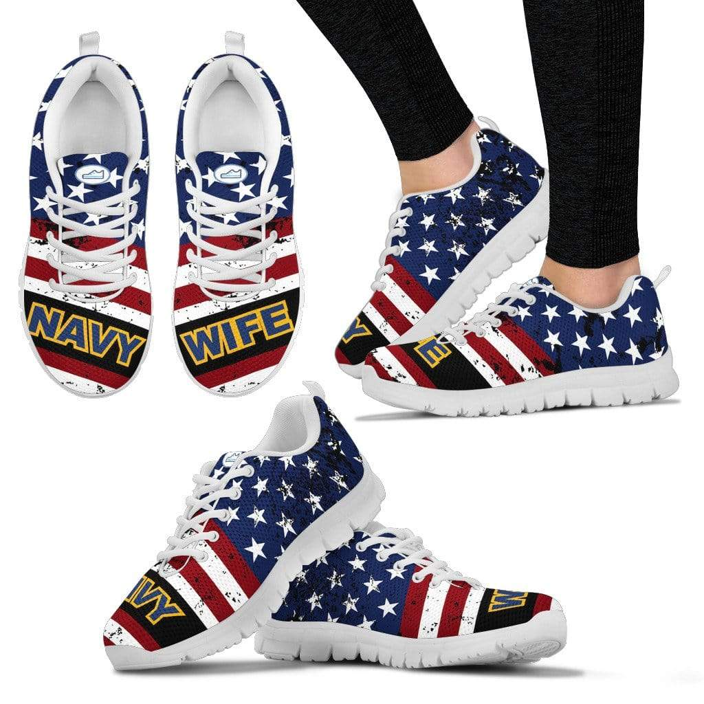 PrintedKicks Navy Wife Premium Mesh Sneakers Women's Sneakers - White - Shoes / US5 (EU35)