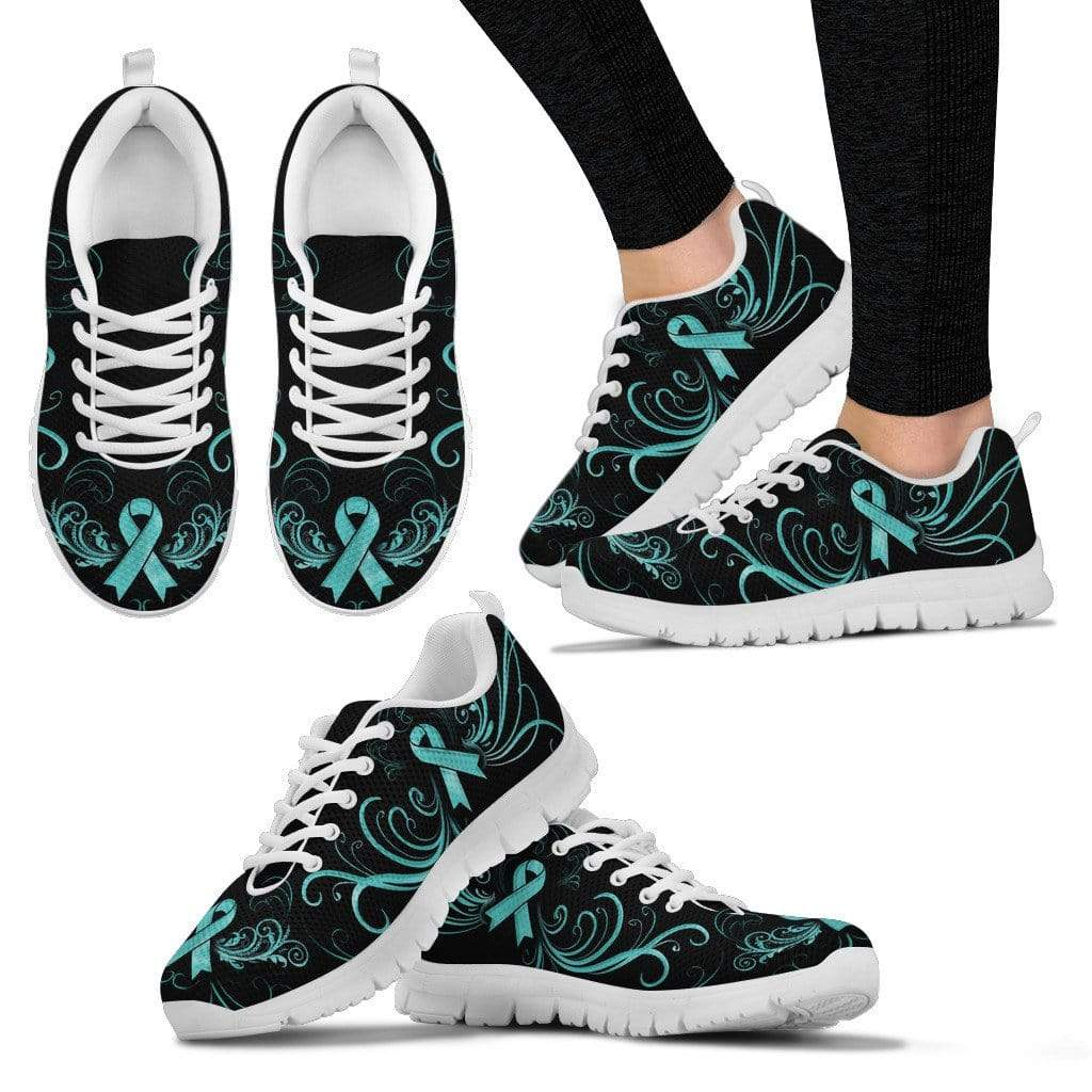 PrintedKicks Ovarian Cancer Ribbon Premium Mesh Sneakers Women's Sneakers - White - Shoes / US5 (EU35)