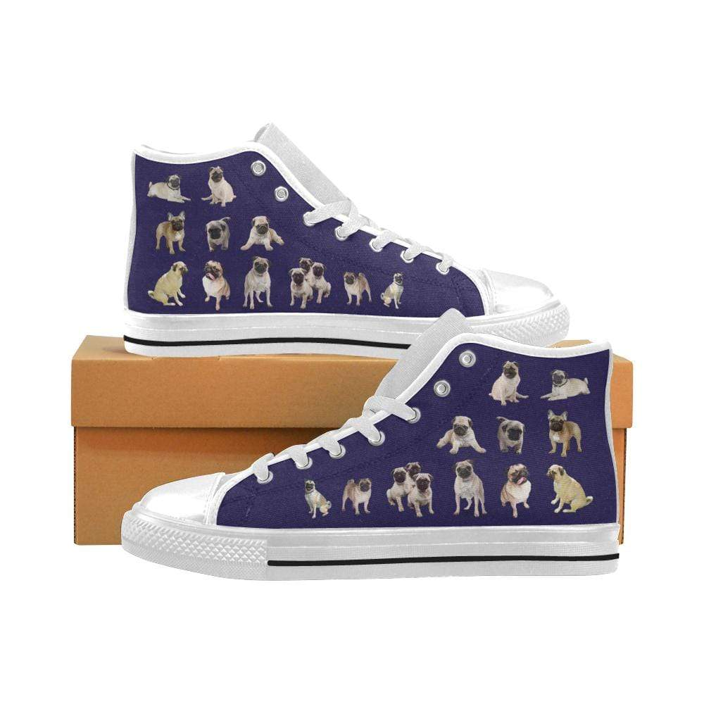 PrintedKicks Pug Blue Canvas High Tops Mens High Top - White Sole / US6 (EU38)