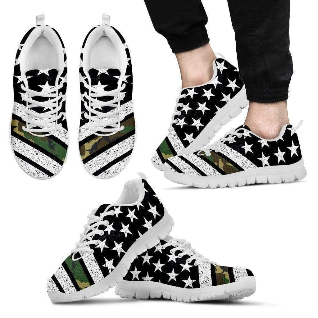 PrintedKicks Thin Army Line Premium Mesh Sneakers Men's Sneakers - White - Shoes / US5 (EU38)