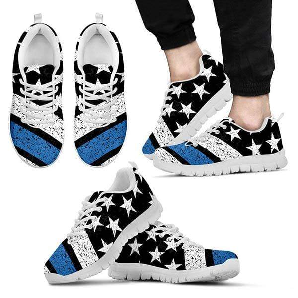 PrintedKicks Thin Blue Line Flag Striped Premium Mesh Sneakers Women's Sneakers - White - Shoes / US5 (EU35)