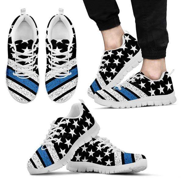 PrintedKicks Thin Blue Line Premium Mesh Sneakers Men's Sneakers - White - Shoes / US5 (EU38)