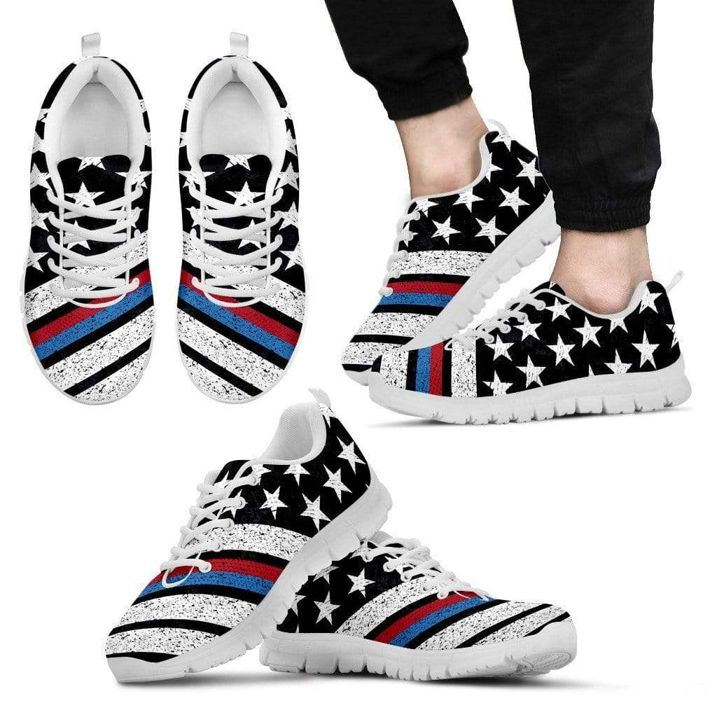 Thin Red Blue Line Flag Premium Mesh Sneakers