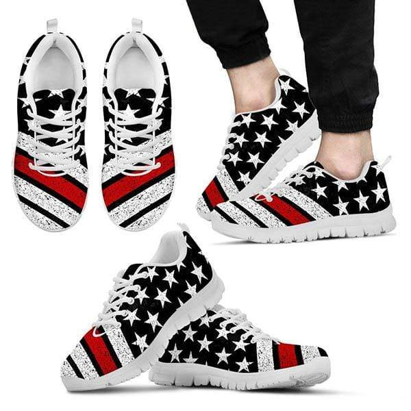 PrintedKicks Thin Red Line Premium Mesh Sneakers Men's Sneakers - White - Shoes / US5 (EU38)