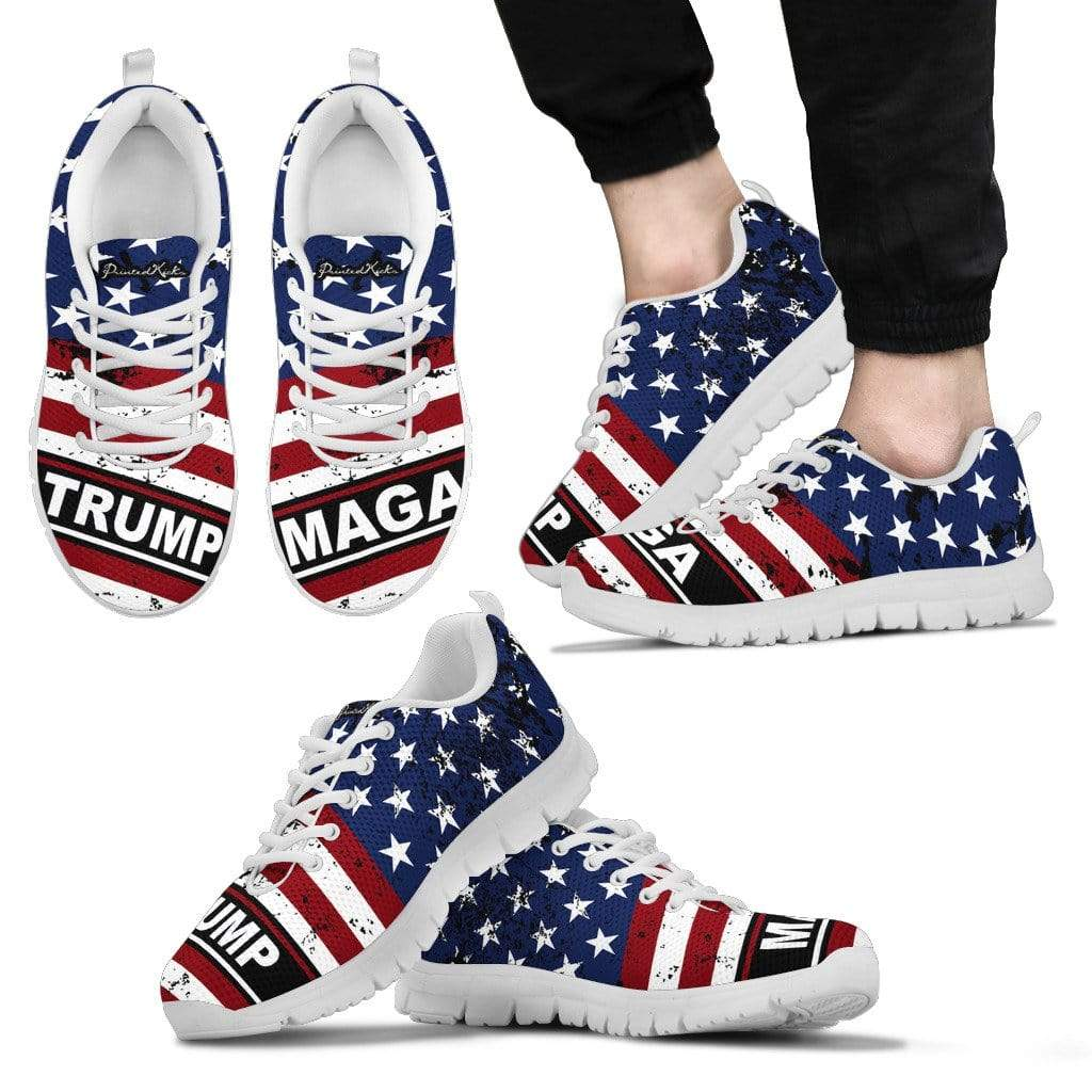 PrintedKicks Trump MAGA Premium Mesh Sneakers Men's Sneakers - White - Shoes / US5 (EU38)