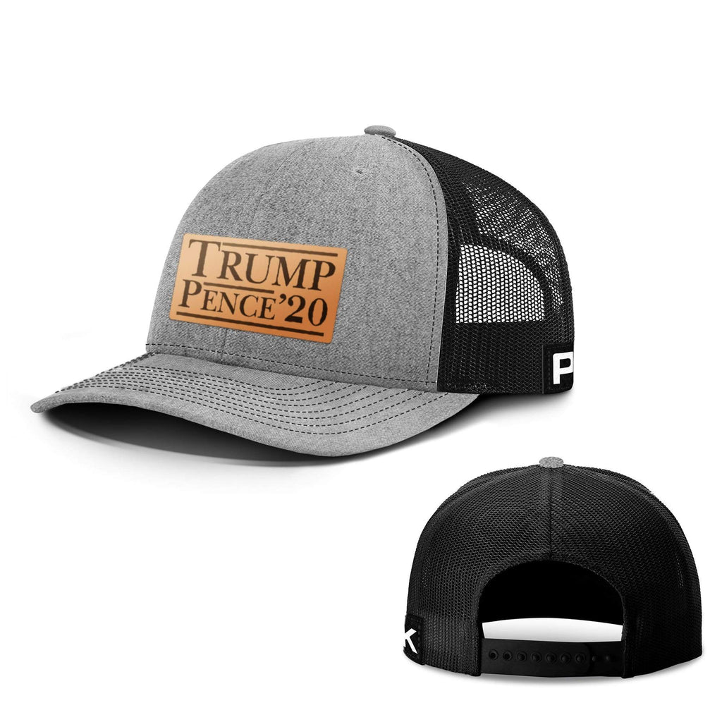 PrintedKicks Trump Pence 20 Leather Patch Back Mesh Hat Heather and Black
