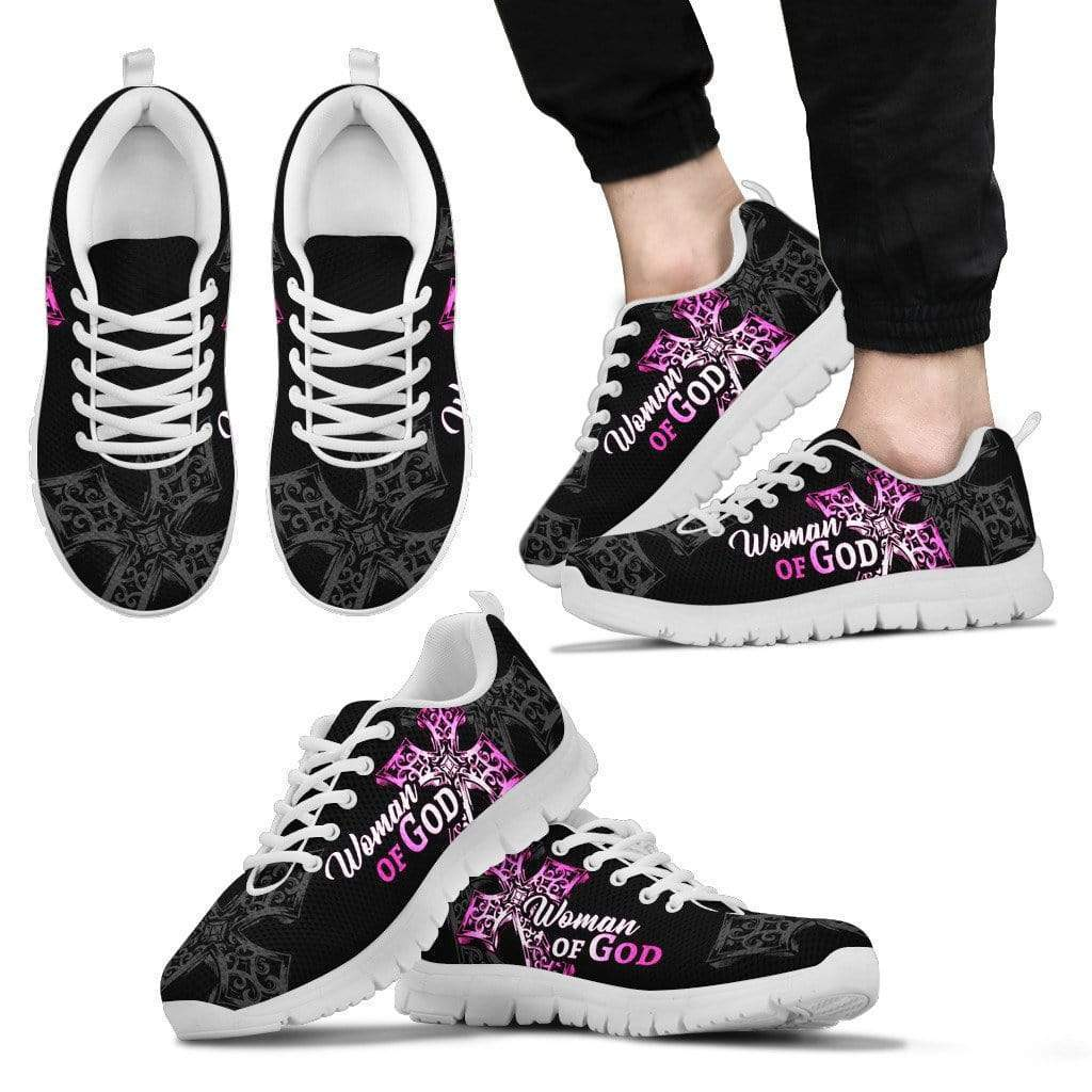 PrintedKicks Woman of God Premium Mesh Sneakers - Pink Women's Sneakers - White - Shoes / US5 (EU35)